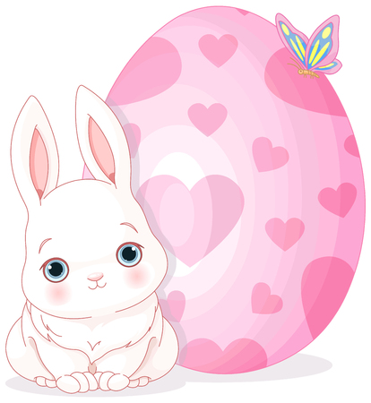 royalty free illustrations: Illustration of Easter bunny sits close to Easter egg Illustration