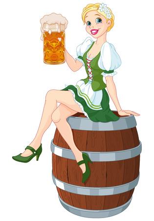 sits: German girl sits on the keg and holds mug