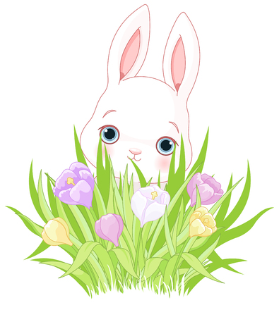 A cute Easter bunny holds crocus bouquet