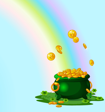 Illustration of pot full of golden coins at the End of the Rainbow