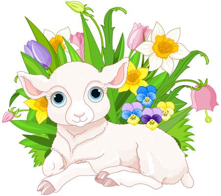 ovejitas: Ilustración de lindo ovejas cachorro se sienta en un montón de flores Vectores