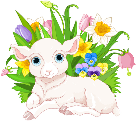 Illustration of cute cub sheep sits in bunch of flowers