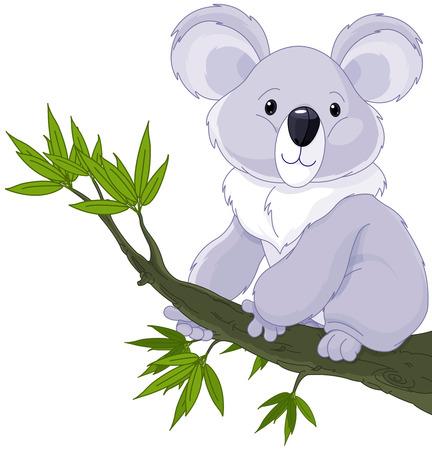 royalty free illustrations: Illustration of cute koala on a tree