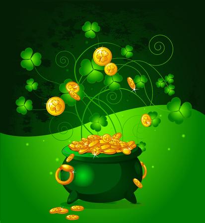 royalty free illustrations: Illustration of pot full of golden coins