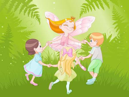 ragazze che ballano: Illustrazione di danza fata con i bambini