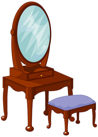 dressing room: Illustration of antique interior buffet