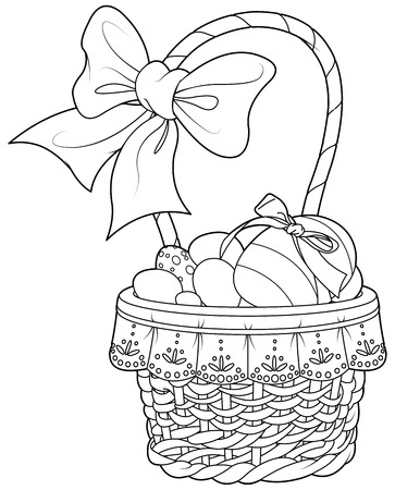 royalty free illustrations: Coloring page pretty Easter basket full of eggs