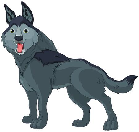 Illustration of cute cartoon wolf 向量圖像