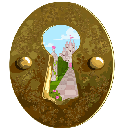 Illustration of Wonderland true the key hole