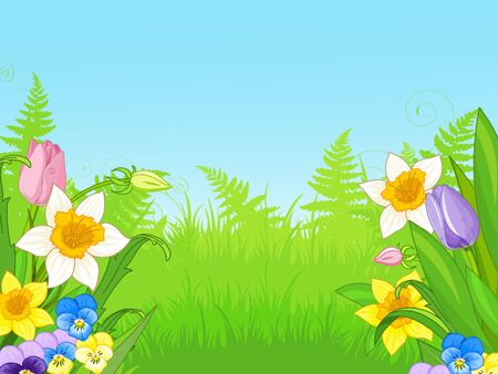 Illustration of meadow of wildflowers