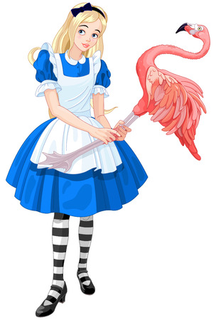 plays: Illustration of cute Alice Plays Croquet