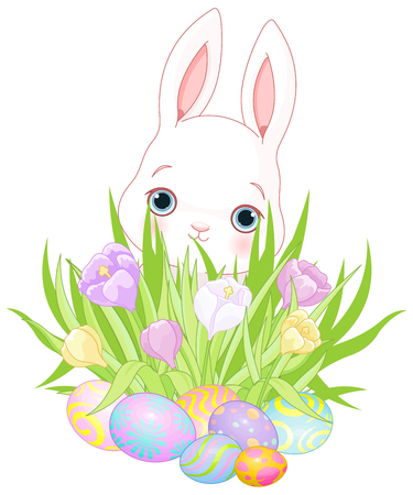 easter flowers: Pretty Easter bunny, flowers and eggs