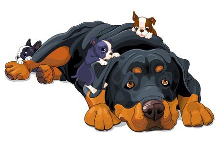Illustration of beautiful Rottweiler family