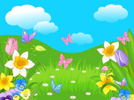 paysage: Illustration of Easter landscape