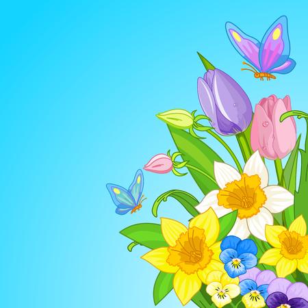 Illustrazione di Pasqua bouquet circondato da farfalle Vettoriali