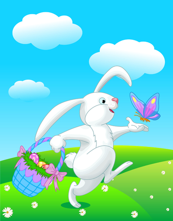 Pretty Easter bunny runs with butterfly