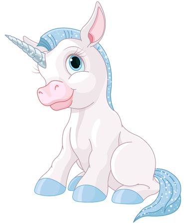 caricaturas de animales: Ilustración de unicornio mágico lindo