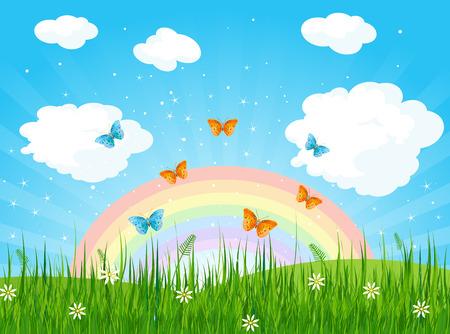 Illustration of spring landscape