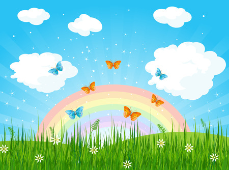 Ilustración del paisaje de la primavera