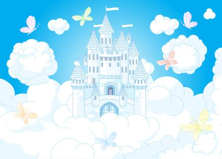 Illustration d'un château de princesse de conte de fées