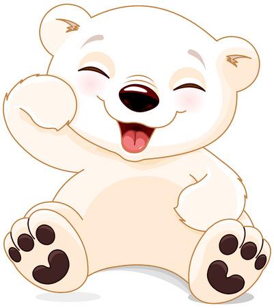 животные: Иллюстрация милый белый медведь смеется Иллюстрация
