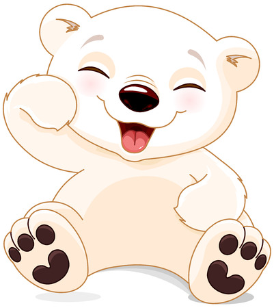 Illustration of cute polar bear is laughing Çizim