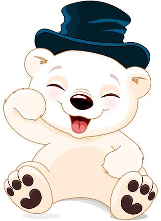 ha: Illustration of cute polar bear is laughing Illustration
