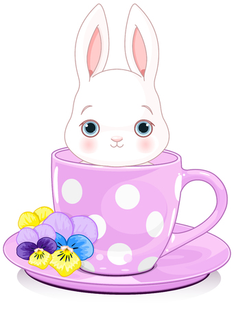 sits: Domestic bunny sits in teacup Illustration