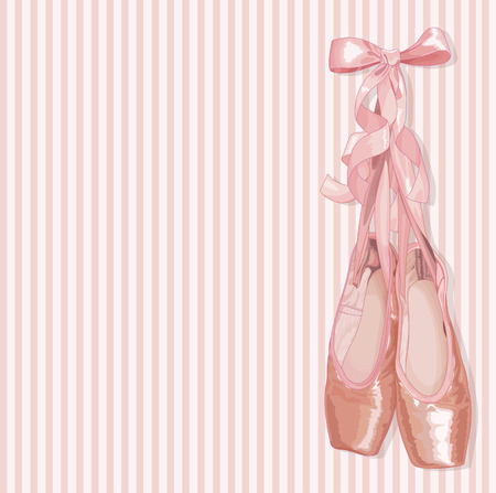 Illustration of a pair of well-worn ballet pointes shoes Stock Illustratie