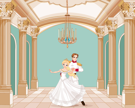 Illustration of dancing prince and princess Vettoriali