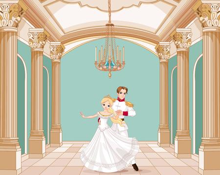 Ilustración del príncipe y la princesa bailando