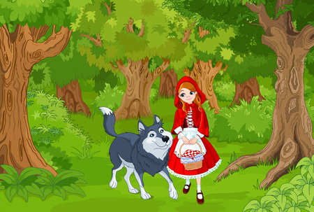 Illustration of little red hood with wolf Çizim