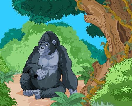 Illustration of sitting gorilla on tropical forest background Illusztráció