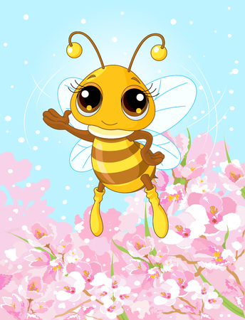 cute bee: Illustration of a friendly cute bee showing and flying