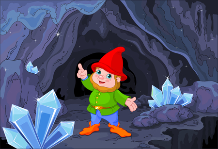 lawn gnome: Illustration of cute gnome close to fairy cave Illustration