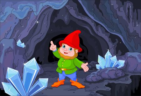 Illustration of cute gnome close to fairy cave Illustration