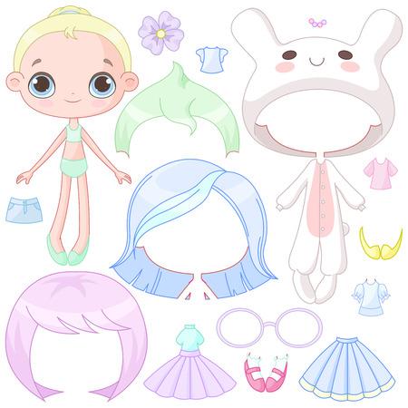 Illustration of paper doll with different evening dresses Ilustração