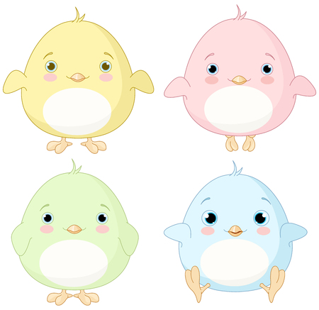 nestling birds: Illustration of very cute chick set Illustration