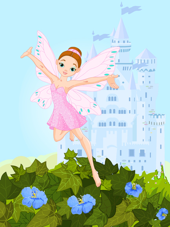 pixy: Illustration of a cute pink fairy in flight