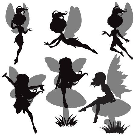 magic mushroom: Illustration of fairy silhouette set Illustration