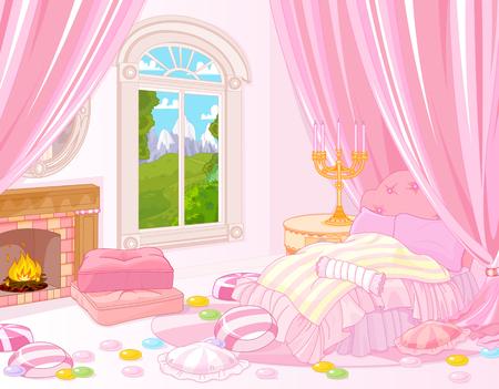 Illustratie van de sprookjesachtige slaapkamer Vector Illustratie