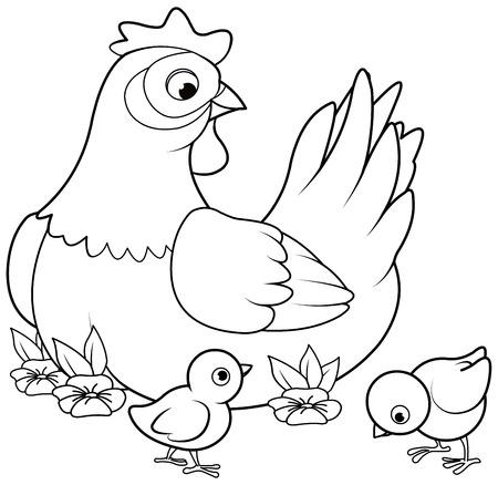 Dibujo para colorear de gallina con sus pollitos Ilustración de vector