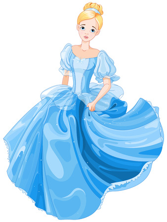 Illustration beautiful girl dressed ball gown 일러스트