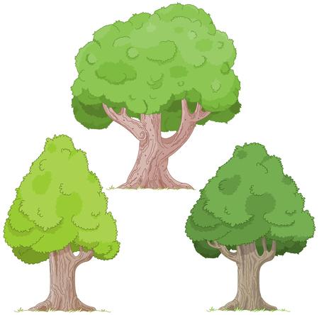 green plants: Illustration of tree set
