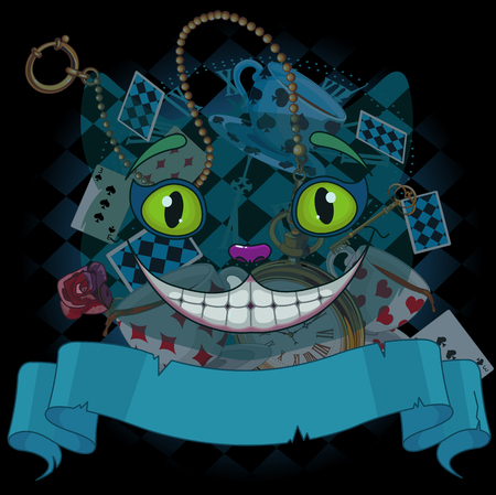 cheshire cat: Design of Cheshire cat on wonderland background Illustration