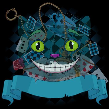 cheshire cat: Design of Cheshire cat on wonderland background Illustration