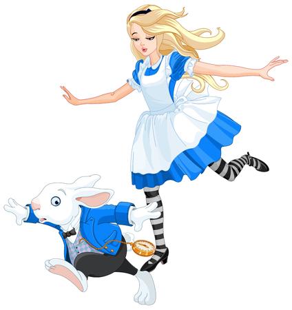conejo: Ilustración de Alicia persiguiendo al conejo