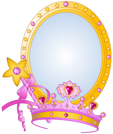 Beautiful crown, magic wand and mirror for true princess Illustration