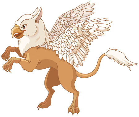 bestiary: Illustration of  magic flying griffin Illustration