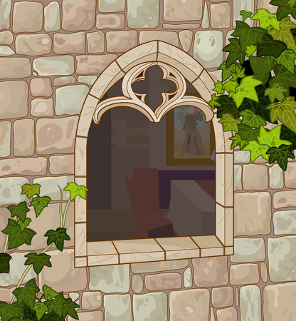 cartoon window: Illustration of the medieval window made of natural stone